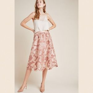NWT Anthro Maeve Shannon Embroidered Midi Skirt S